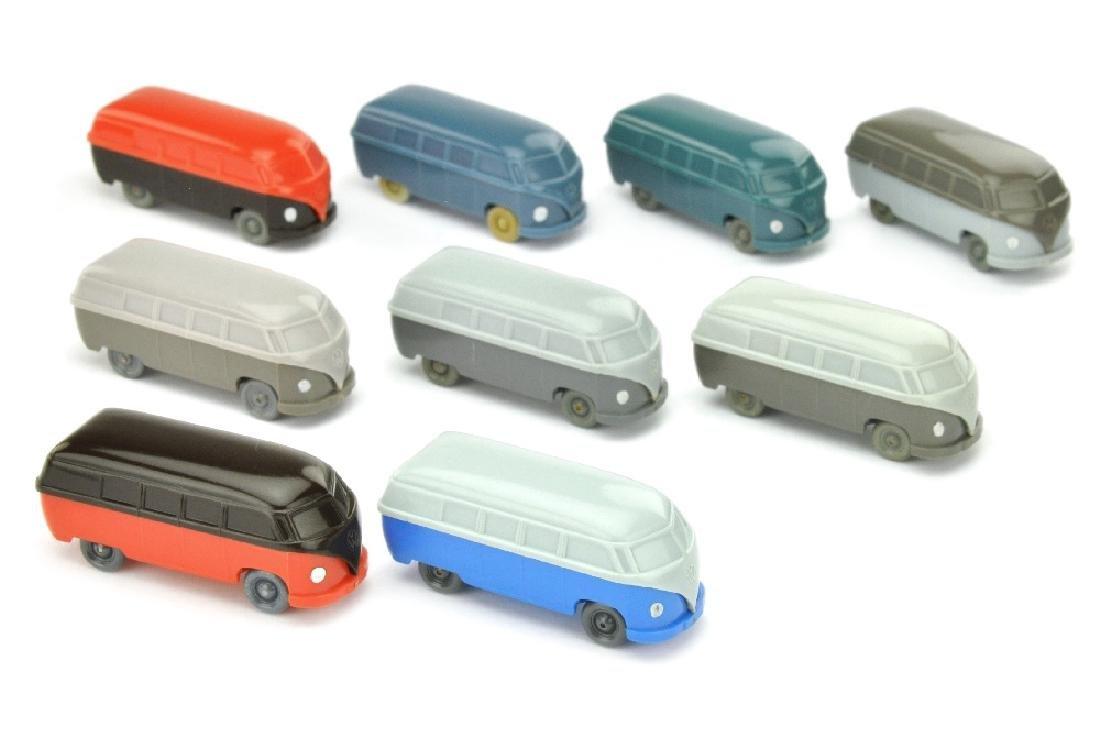 Konvolut 9 unverglaste VW Busse (Typ 3)