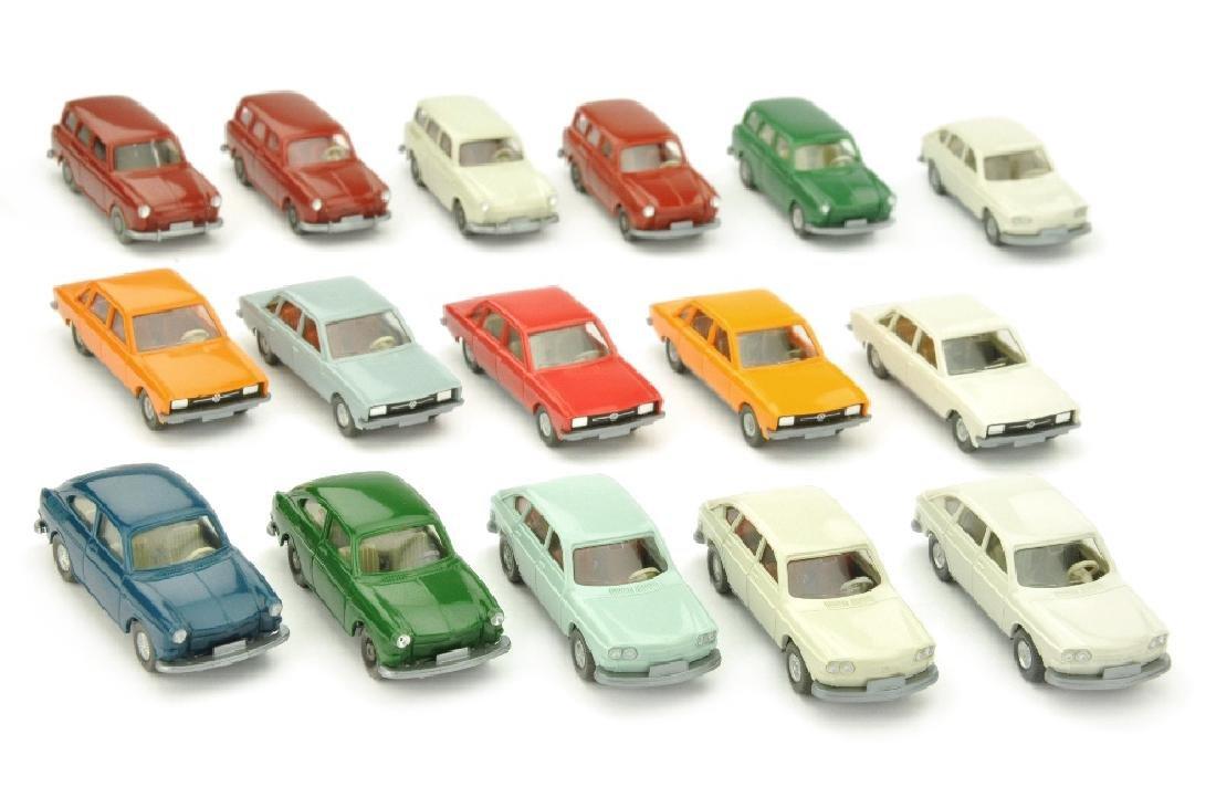Konvolut 16 VW-PKW der 60er/70er Jahre