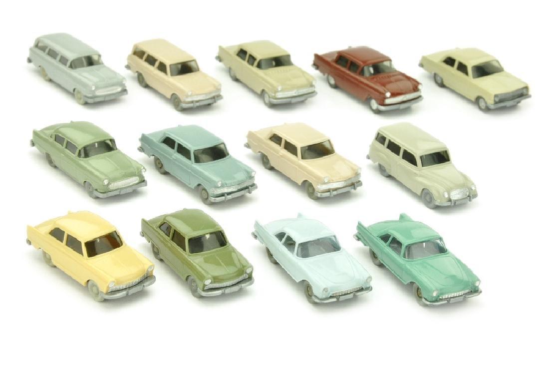 Konvolut 13 Opel-/DKW-PKW der 60er Jahre