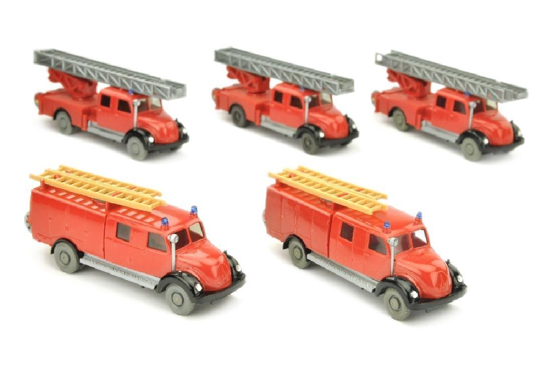 Konvolut 5 Magirus-Sirius-Feuerwehren der 60er J.