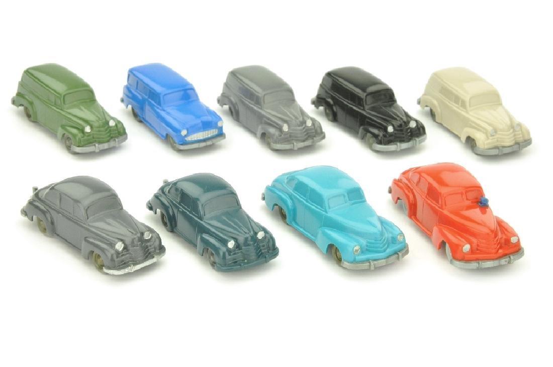 Konvolut 9 unverglaste Opel-PKW