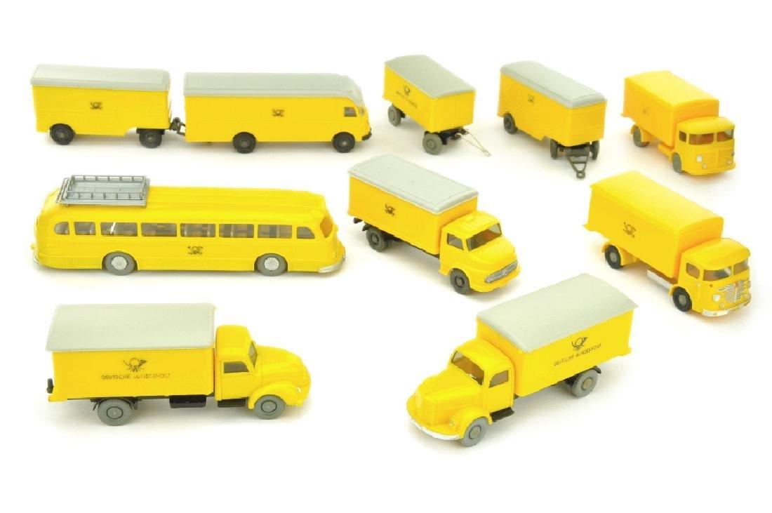 Konvolut 9 Postfahrzeuge der 60er Jahre