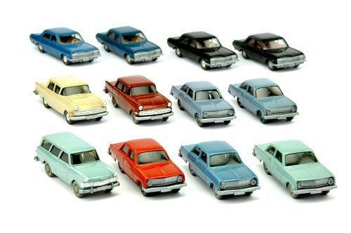 Konvolut 12 Opel-PKW der 60er/70er Jahre