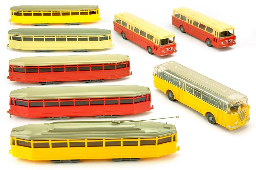 Konvolut 8 Omnibusse/Straßenbahnen