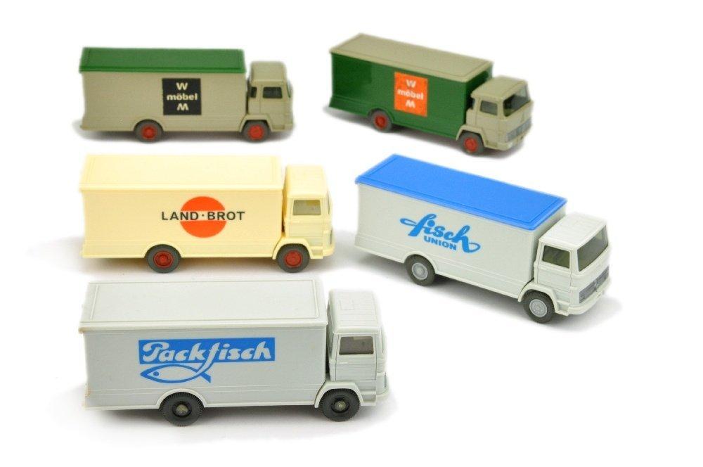 Konvolut 5 Koffer-LKW der 70er Jahre
