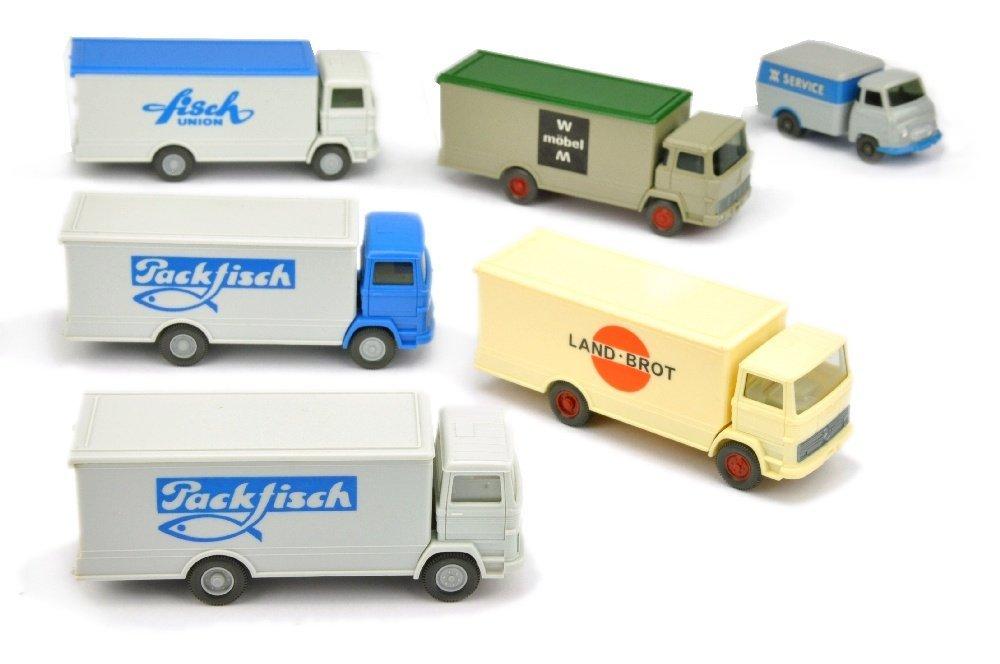 Konvolut 6 Koffer-LKW der 60er/70er Jahre