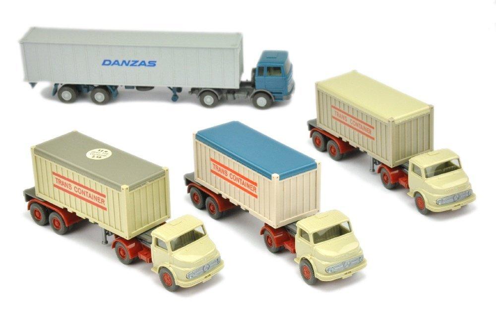 Konvolut 4 Container-LKW der 70er Jahre