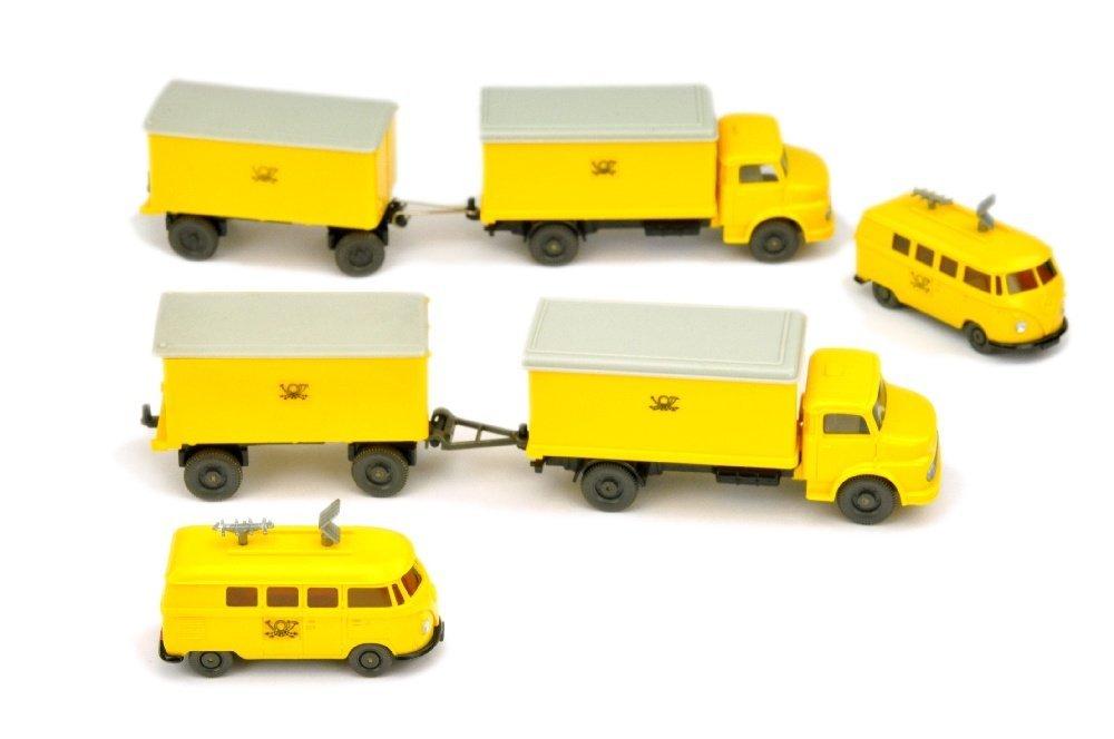 Konvolut 6 Postfahrzeuge der 60er/70er Jahre