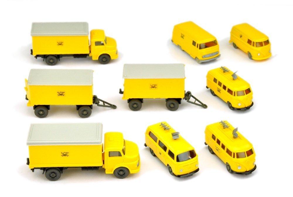 Konvolut 9 Postfahrzeuge der 60er/70er Jahre