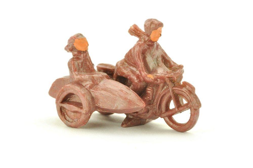 Motorradfahrer mit Beiwagen, braunviolettmetallic