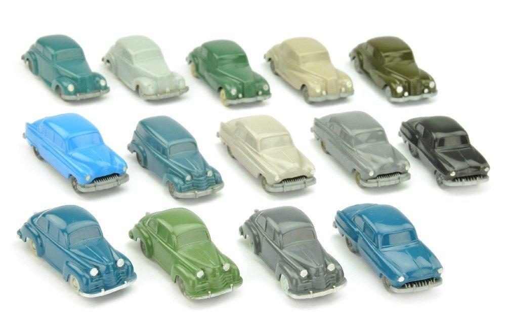 Konvolut 14 unverglaste Opel-/Mercedes-PKW