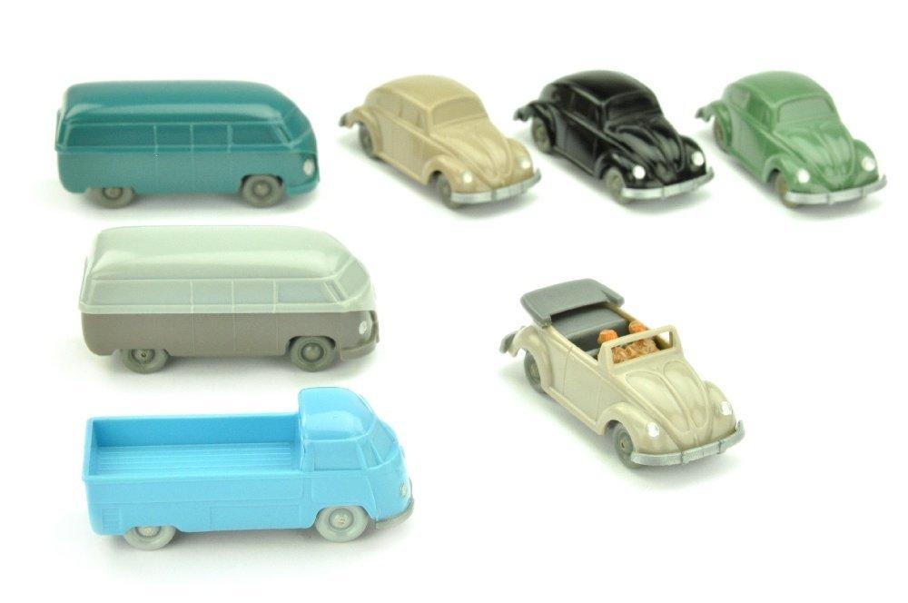 Konvolut 7 unverglaste VW-PKW
