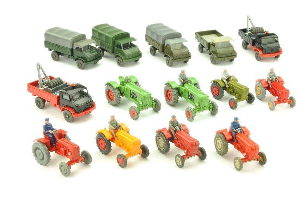 Konvolut 14 Unimog/Traktoren der 60er/70er Jahre