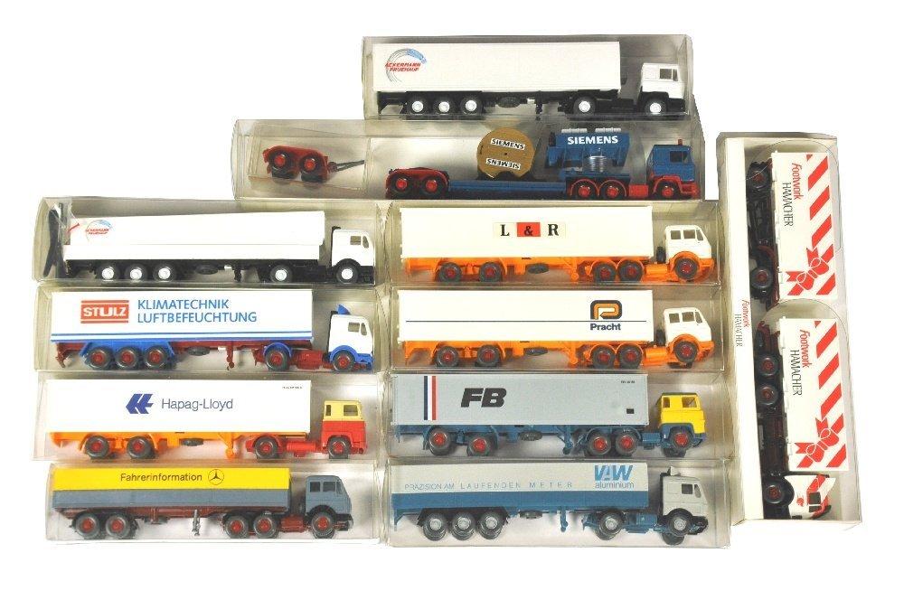 Konvolut 11 Werbemodell-LKW der 80er/90er J.