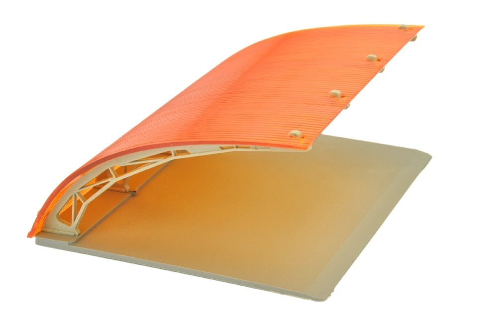Parkhalle, dunkles orange/staubgrau