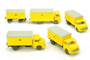 Konvolut 5 Postfahrzeuge der 70er Jahre