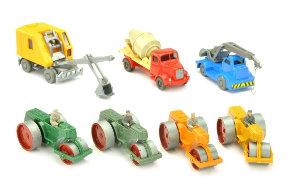 Konvolut 7 Baufahrzeuge der 60er Jahre