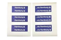 Restposten Aufkleber fuer Werbem Hamburger Sped