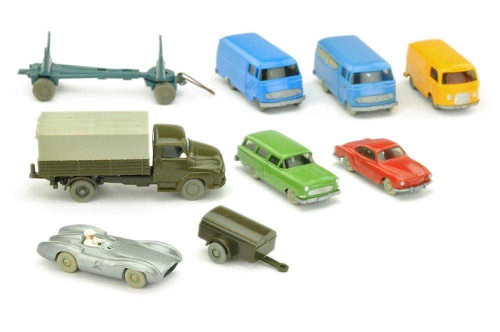 Konvolut 9 verglaste Modelle der 50er Jahre