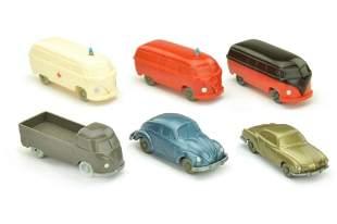 Konvolut 6 unverglaste VW-Modelle