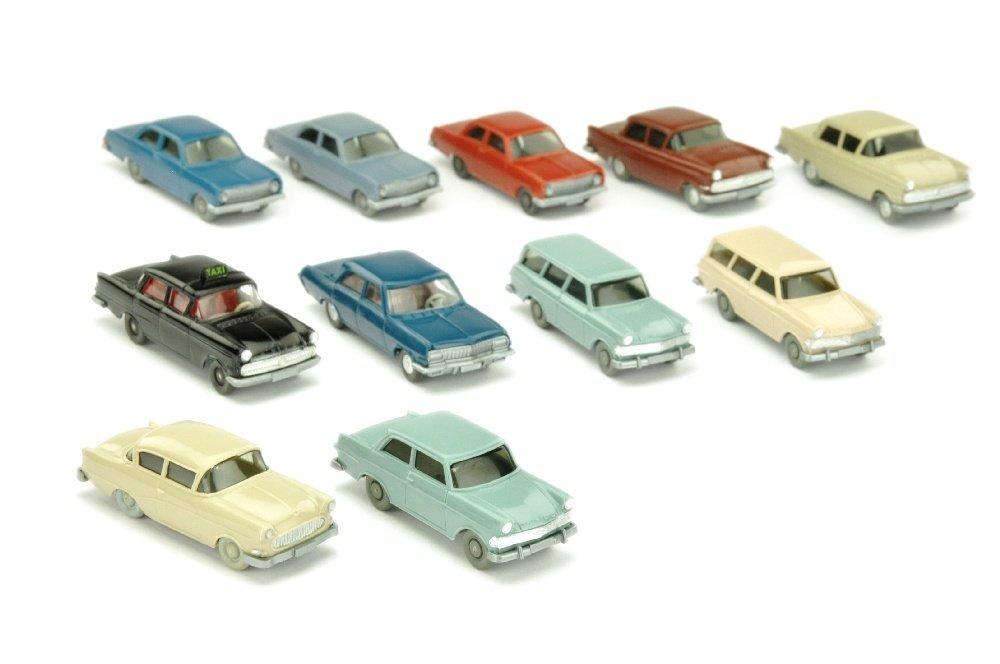 Konvolut 11 Opel-PKW der 60er/70er Jahre