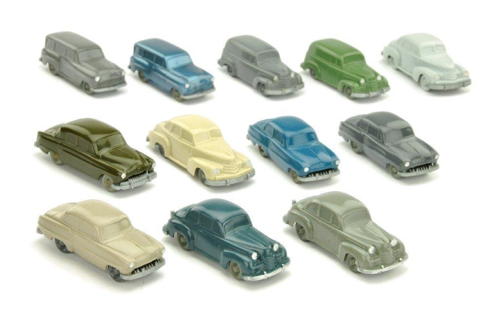 Konvolut 12 unverglaste Opel-PKW