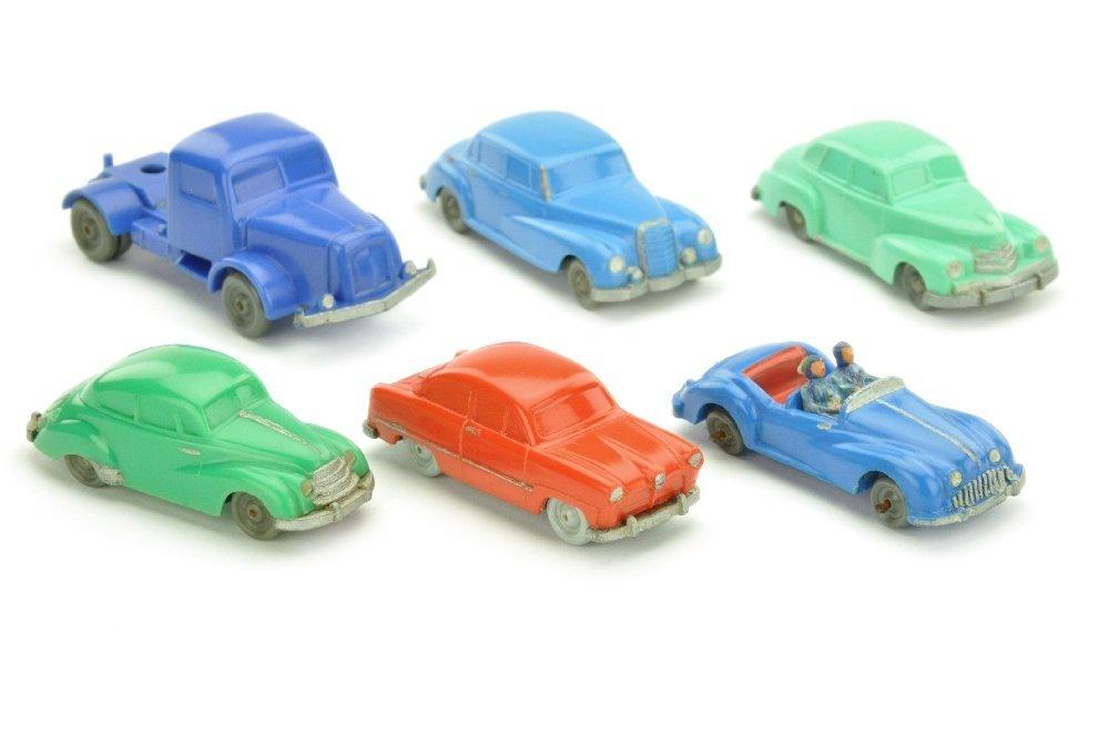 Konvolut 6 unverglaste Modelle (nur bemalt)