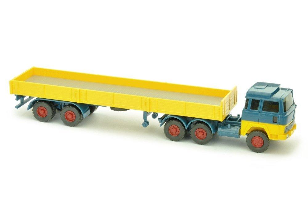 Pritschen-Sattelzug Magirus 235, azurblau/gelb