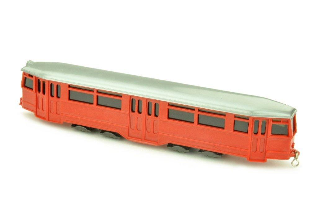 Strassenbahn-Anhaenger, rot/silbern