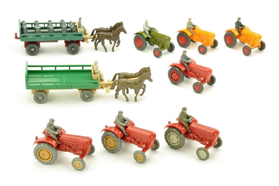 Konvolut 9 Landwirtschaftsmodelle d. 60er/70er J.