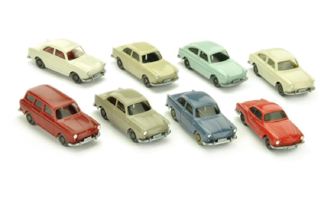 Konvolut 8 VW-PKW der 60er/70er Jahre