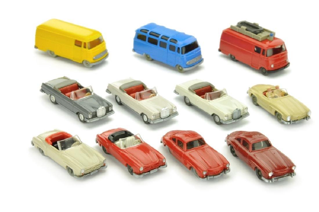 Konvolut 11 Mercedes-PKW der 60er/70er Jahre