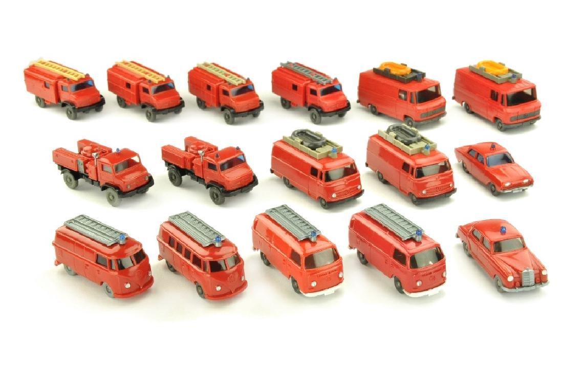 Konvolut 16 Feuerwehren der 60er/70er Jahre