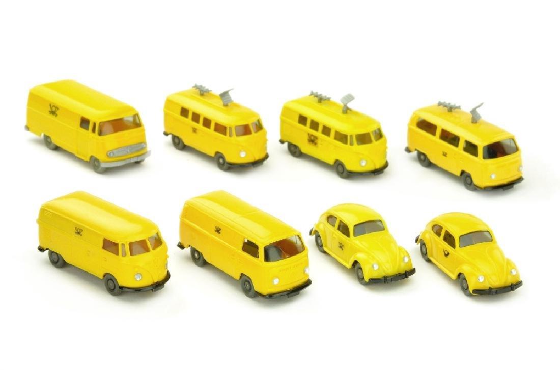 Konvolut 8 Postfahrzeuge der 60er/70er Jahre