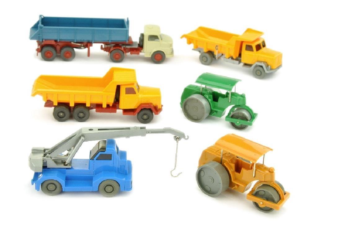 Konvolut 6 Baufahrzeuge der 60er Jahre