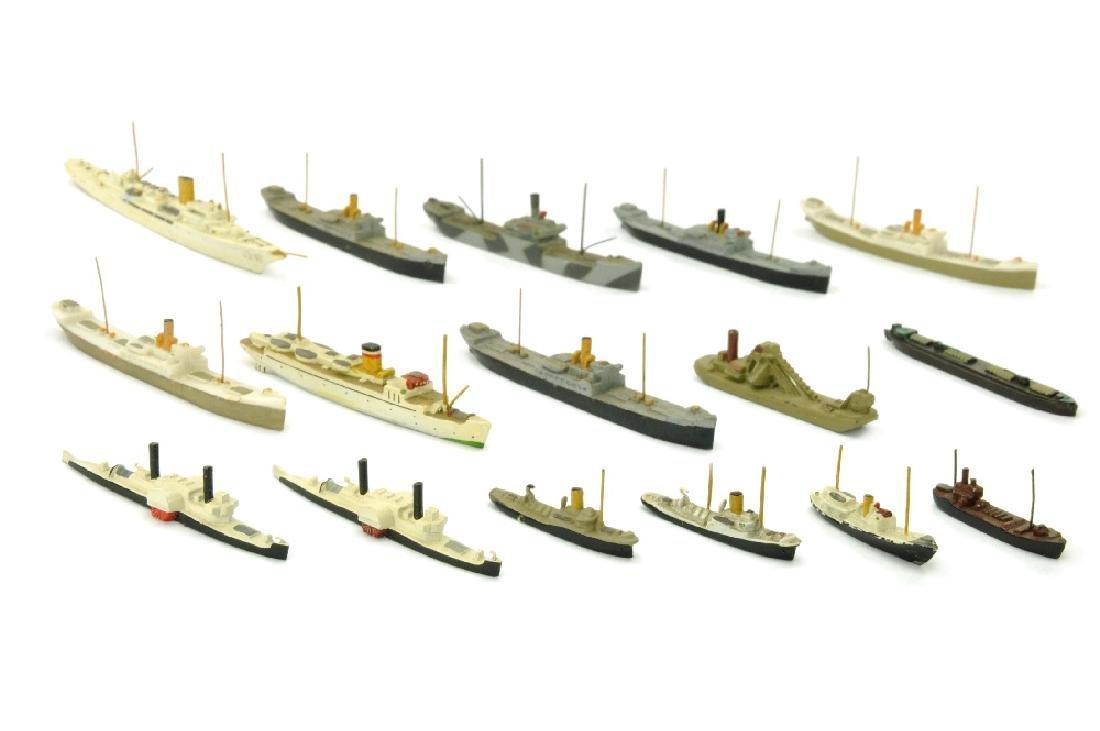 Konvolut 16 kleine Zivilschiffe