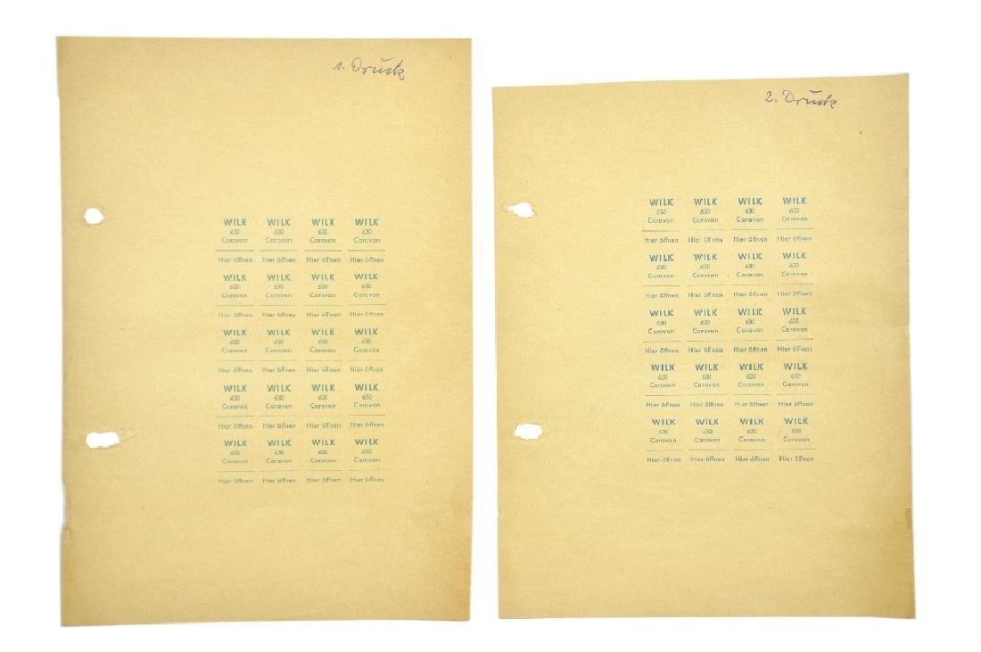 Zwei Andruckboegen Papieretiketten Wilk