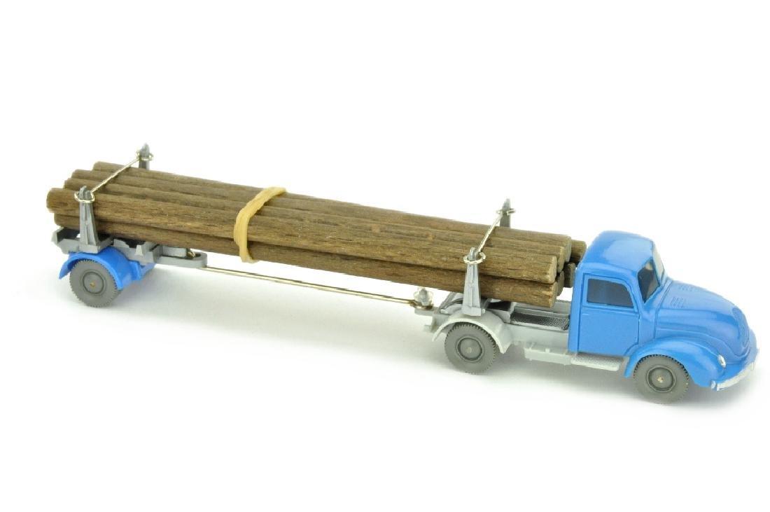 Magirus Langholztransporter, himmelblau/silbergr.