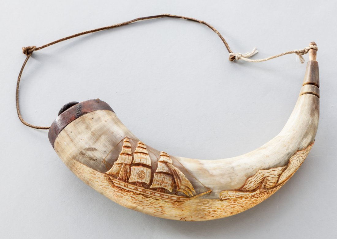 18: Large Hand-Carved Asian Powder Horn