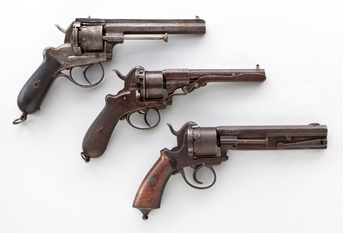 48: Lot of 3 Belgian Pinfire Revolvers