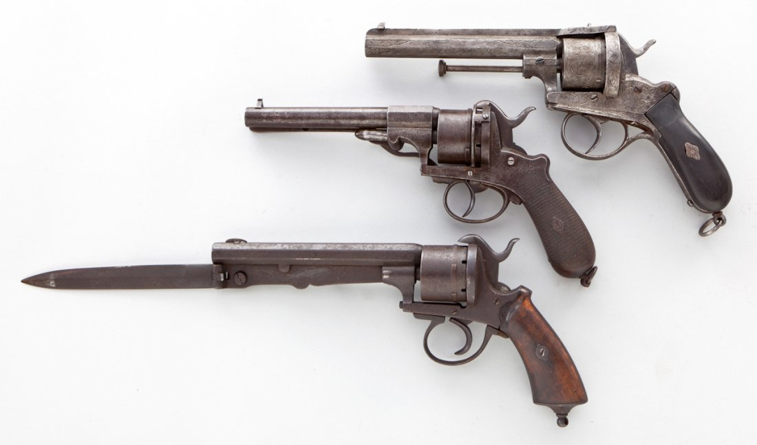 48: Lot of 3 Belgian Pinfire Revolvers - 2