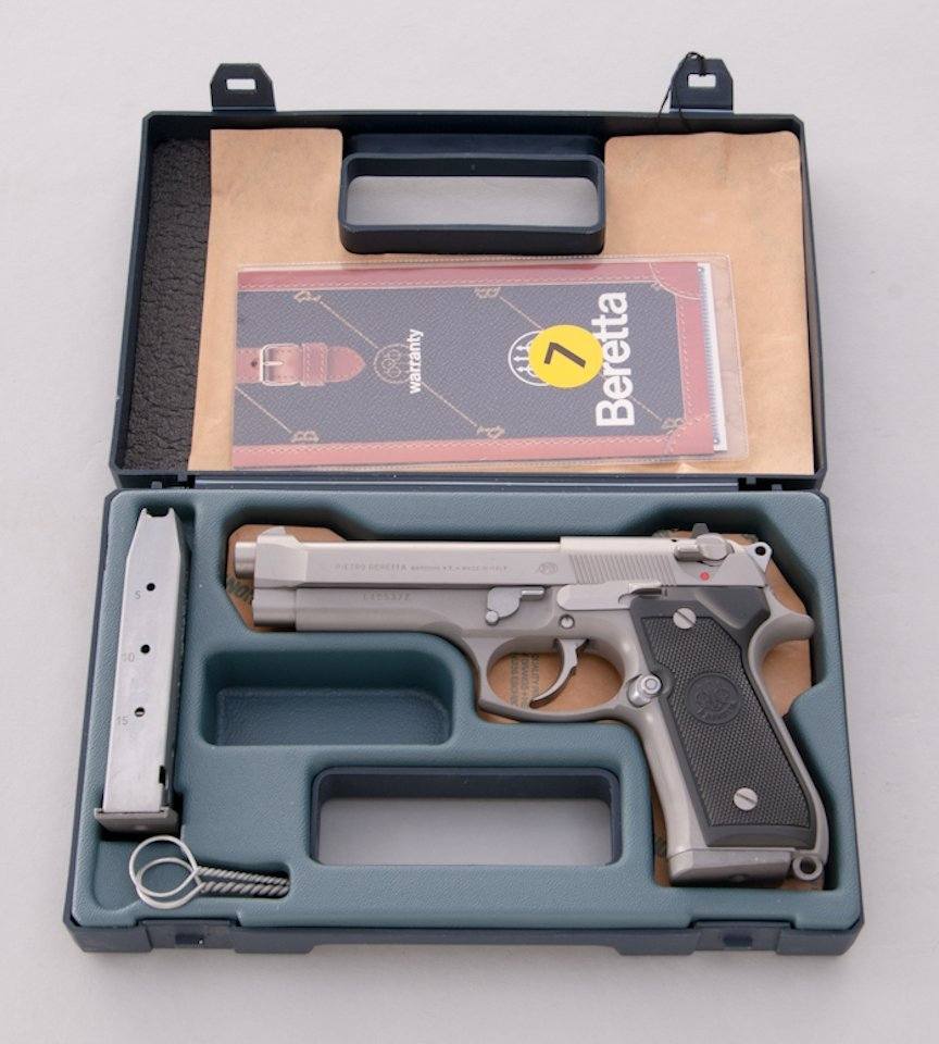 987: Stainless Beretta 92FS Semi-Automatic Pistol - 4