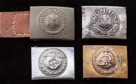 1061: Lot of 4 WWII German Belt Buckles