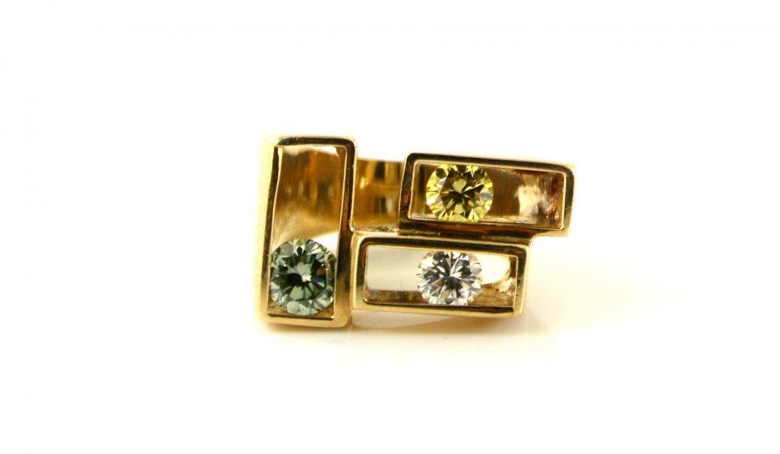 1: 18KT GOLD LARGE MULTICOLOR GENUINE DIAMOND RING