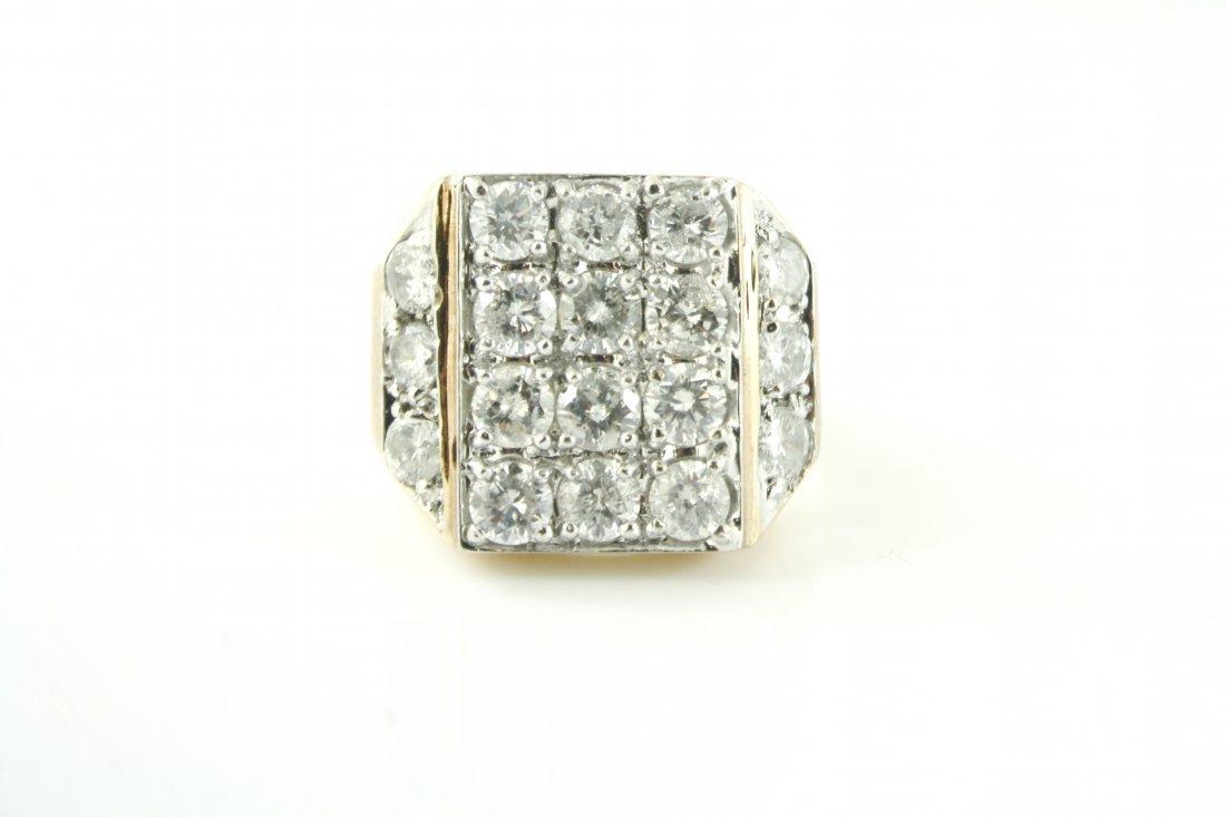 5: MEN'S 14KT GOLD 5.00 CTW LARGE DIAMOND RING
