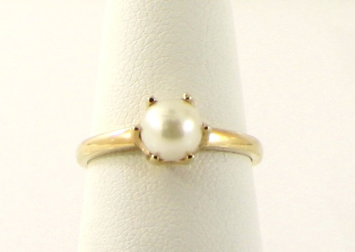 6: WOMENS 10KT SOLID YELLOW GOLD 5.5MM PEARL RING