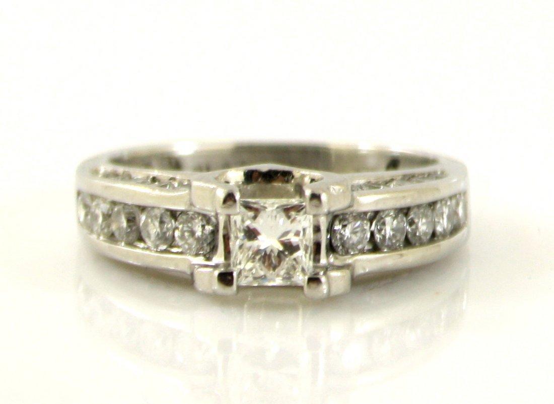 7: LADIES PLATINUM .950 PRINCESS DIAMOND WEDDING RING