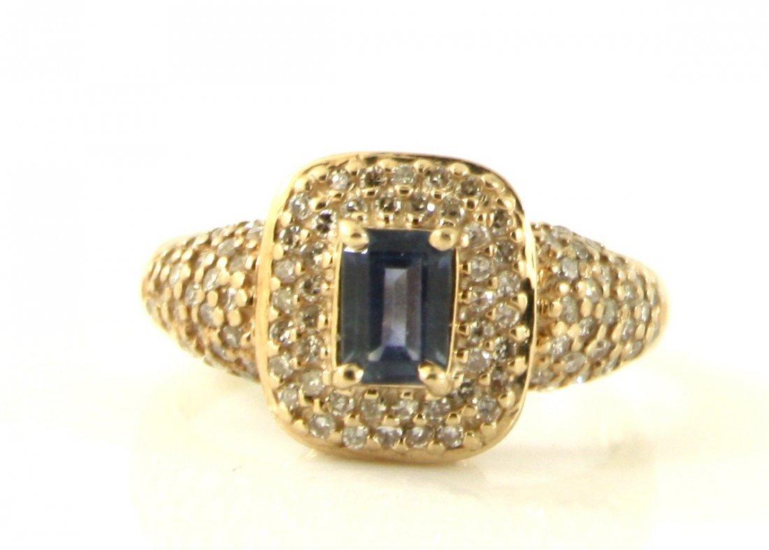 12: 10KT GOLD .70CT BLUE TOPAZ EMERALD DIAMOND RING