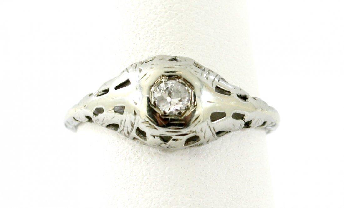 15: 18KT WG .13 CTW OLD CUT DIAMOND ANTIQUE RING