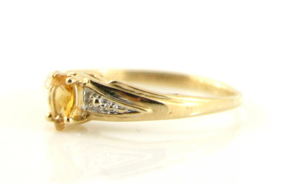 45: 10KT SOLID GOLD PEAR CUT CITRINE PROMISE RING - 2